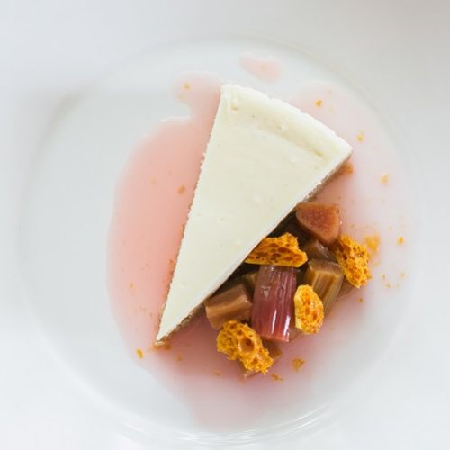 Baked Cheesecake with Rhubarb